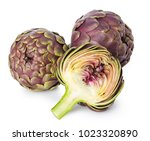 fresh artichokes isolated on... | Shutterstock . vector #1023320890