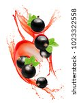 black currant in juice splash... | Shutterstock . vector #1023322558