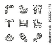 icons hand drawn toys. vector... | Shutterstock .eps vector #1023324478