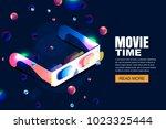 vector glowing neon cinema ... | Shutterstock .eps vector #1023325444