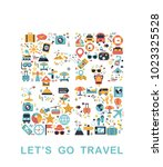 travel icons are grouped in... | Shutterstock .eps vector #1023325528