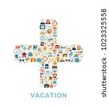 travel icons are grouped in... | Shutterstock .eps vector #1023325558