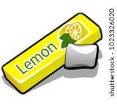 chewing gum with lemon flavor...   Shutterstock .eps vector #1023326020