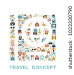 travel icons are grouped in... | Shutterstock .eps vector #1023330790