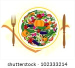 vegetables on plate with knife... | Shutterstock .eps vector #102333214
