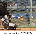 baseball catcher about to catch ...   Shutterstock . vector #102334174