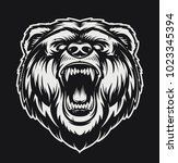 vector roaring bear isolated on ... | Shutterstock .eps vector #1023345394