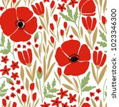 seamless pattern with red poppy ... | Shutterstock .eps vector #1023346300