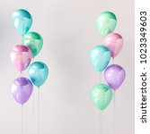 set of blue  green  pink and... | Shutterstock . vector #1023349603