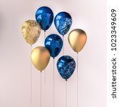 set of dark blue and golden... | Shutterstock . vector #1023349609