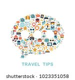 travel icons are grouped in... | Shutterstock .eps vector #1023351058