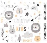 pattern scandinavian kids... | Shutterstock .eps vector #1023353380