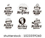 hot dog logo or label. fast... | Shutterstock .eps vector #1023359260