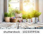 easter table with spring... | Shutterstock . vector #1023359536