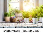 easter table with spring... | Shutterstock . vector #1023359539
