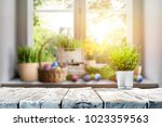 easter table with spring... | Shutterstock . vector #1023359563