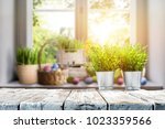 easter table with spring... | Shutterstock . vector #1023359566