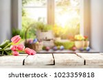 easter table with spring... | Shutterstock . vector #1023359818