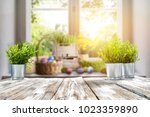 easter table with spring... | Shutterstock . vector #1023359890