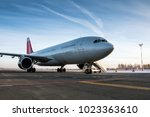 wide body passenger aircraft... | Shutterstock . vector #1023363610