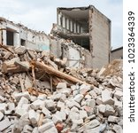 pile of rubble and demolished... | Shutterstock . vector #1023364339