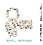 travel icons are grouped in... | Shutterstock .eps vector #1023367810
