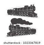 two vintage retro railroad... | Shutterstock .eps vector #1023367819