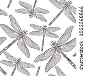 seamless pattern with dragonfly'... | Shutterstock .eps vector #1023368866