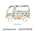 travel icons are grouped in bus ... | Shutterstock .eps vector #1023378928