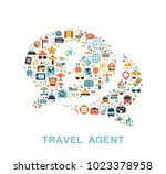 travel icons are grouped in... | Shutterstock .eps vector #1023378958