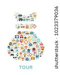 travel icons are grouped in bag ... | Shutterstock .eps vector #1023379036