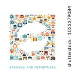 travel icons are grouped in... | Shutterstock .eps vector #1023379084
