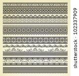 set of vintage lines on beige...   Shutterstock .eps vector #102337909