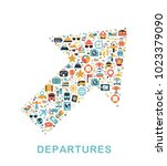 travel icons are grouped in... | Shutterstock .eps vector #1023379090