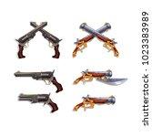 set of cartoon pirate pistols... | Shutterstock .eps vector #1023383989