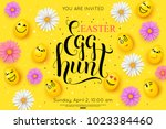 easter egg hunt flyer... | Shutterstock .eps vector #1023384460