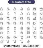 e commerce flat icon set .... | Shutterstock .eps vector #1023386284
