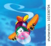 Plane makes acrobatics - stock photo