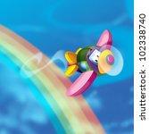 Plane fly to the rainbow - stock photo