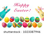 easter. happy bunny rabbit... | Shutterstock . vector #1023387946