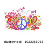 colorful t shirt print with... | Shutterstock .eps vector #1023389068