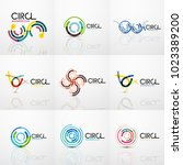 set of line circles logos.... | Shutterstock .eps vector #1023389200