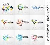 set of line circles logos.... | Shutterstock .eps vector #1023389200