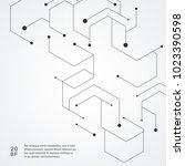 technology hexagons structure... | Shutterstock .eps vector #1023390598