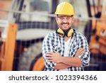 young businessman construction...   Shutterstock . vector #1023394366