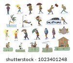 collection of people coping... | Shutterstock .eps vector #1023401248