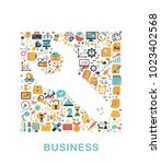 business icons are grouped in... | Shutterstock .eps vector #1023402568