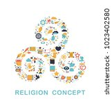 religion icons are grouped in... | Shutterstock .eps vector #1023402580