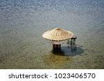 view of sun umbrella made with...   Shutterstock . vector #1023406570