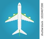 airplane in the air top view.... | Shutterstock .eps vector #1023407200